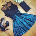 New Women Dress Summer Floral Lace Sleeveless Hipster Party Casual Mini Dress