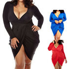 Sexy Women Plus Size L-3XL Deep V-neck Bandage Split Mini Dress Bodycon Club
