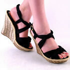 NEW WOMENS BLACK KNOTTED FABRIC HIGH HEEL PLATFORM WEDGE SANDAL