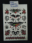 1 SHEET UNISEX TEMPORARY TATTOOS CELTIC BLACK RED ARTY FLOWERS & HEARTS UKSELLER