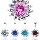Gorgeous Crystal Cluster Navel Belly Bars - Choose Colour
