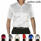 Men's 19 Momme 100% Pure Silk Short Sleeve Business Formal Dress Shirts  AF251