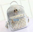 Girl's Ladies PU Vintage Casual Crocodile Leather Rivet & Crystals Backpack