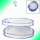 """Balcony Folded White Blue Double Layer Hanging Clothes Dryer Basket 22.8"""""""