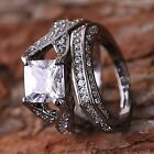 Men Woman 2PCS Wedding Band Ring 2-in-1 White Sapphire Black Gold Filled Jewelry