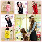 New Boy Girl Mum Animal Fleece Costume Hooded vest Outfit clothes 3yrs-10yrs