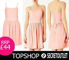 Topshop New Ladies Pastel Peach Floral Laces Crochet Chiffon Skater Dress 8 - 14