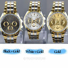 Fashion Men's Luxury Date Gold Dial Stainless Steel Analog Quartz Wrist Watch MO