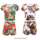 WOMENS LADIES SUMMER FLORAL TROPICAL PRINT TWO PIECE CROP TOP HOT PANTS SHORTS