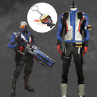 Overwatch OW Cosplay Costume 76 Soldier Jacket Belt Pants Outfit Custom Adult