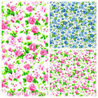OAKLEY ROSE - SMALL FLORAL 100% COTTON FABRIC pink blue BY THE METRE dressmaking