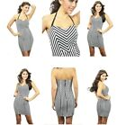 Carmin Rocker Chick Striped Short Dress Black White Stretchy Clubbing Dress