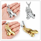 New Gold Silver Women's Men's Necklace Stainless Steel Worship God Hands Pendant
