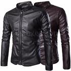 New Fashion Mens PU Leather Casual Cotton Jackets Zip Up Tops Outwear Warm Coat