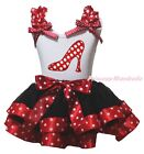 High Heels White Top Red Minnie Dots Black Satin Trim Girls Skirt Outfit NB-8Y