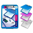 A4 Plastic Compact Clipboard Paper Storage Box File Blue Clear Pink  33.5 x 24cm