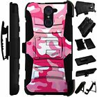 For Rugged Phone Cover Holster Hybrid Case PINK WHITE CAMO CAMOUFLAGE LuxGuard