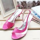 Womens Kitten Heel Cute Grils Open Toe Bowknot Patent New Sandals Shoes Plus Sz