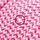 RZ08 Fuchsia ZigZag Round Electric Cable covered by Rayon fabric