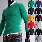 Mens Thin Slim Fit V-Neck Basic Solid Knit Sweater Jumper Blazer Cardigan - S/L