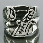 316L Men's Silver Stainless Steel Gragon Claw Lucky Number 7 Biker Finger Rings