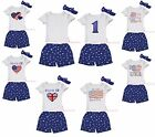 4th July Cotton Short Sleeve Top Shirt Blue Patriotic Star Pants Outfit Set 1-8Y