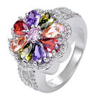 Size 7-9 Multi-color Amethyst Topaz 925 Sterliing Silver Gemstone Ring A088