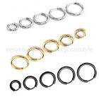 Mens Women Black Silver Gold Steel Tube Hoop Ear Ring Stud Earrings Jewelry Punk