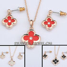 A1-S087 Fashion Glazed Flower Earrings & Necklace Jewelry Set 18KGP Crystal