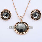 A1-S089 Fashion Black Crystal Earrings Necklace Jewelry Set 18KGP Rhinestone