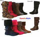 New Girls Kid's Slouch Comf Midcalf Suede Winter Boots Cute Zipper Shoes