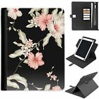 U-FLOP01 FLOWERS UNIVERSAL PROTECTIVE TABLET LEATHER FLIP WALLET 360 SWIVEL CASE