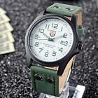 Men's Leather Band Watches Military Sport Analog Quartz Date Wrist Watch WLSG
