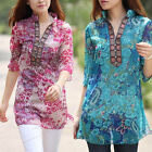 Womens V-neck Floral Chiffon Casual Plus Size Tops Blouse T Shirt Tunic Summer