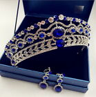 5cm High Crystal Tiara Earrings Set Wedding Party Pageant Prom Crown - 4 Colours