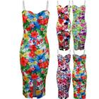 Ladies Strappy Padded Floral Print Women's Bodycon Midi Knee Length Dress
