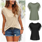 2016Latest Loose Top Short Sleeve Tassel Blouse Casual Tops T-Shirt