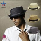 Внешний вид - Men's Summer Porkpie Straw Fedora Hat Panama Short Brim Hat PMS 540