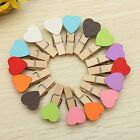 Kawaii Mini Love Heart Wooden Pegs Photo Clip Cards Wedding Party 6 Colors Craft