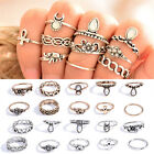 10x/Set Womens Retro Elephant Finger Rings Punk Vintage Ring Boho Trendy Gift EW
