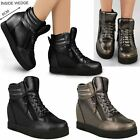 Womens Ladies Wedge Trainers Mid Heel Sneakers High Top Ankle Pumps Boots Size