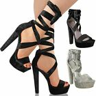 Womens Ladies Velvet Tie Lace Up Ankle High Heels Block Platforms Strappy Size
