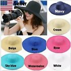 Women's Fashion Summer Beach Large Wide Brim Foldable Floppy Sun Straw Hat