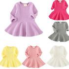 New Baby Kids Girls Princess Dress Cotton Pleated Long Sleeve Tutu Skirt 6M-4Y