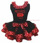 Personalize PRESCHOOL CUTIE Top Red Minnie Dot Black Satin Trim Girl Skirt NB-8Y