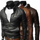 Men's Fashion Casual Jackets Collar Slim Motorcycle Leather Jacket Coat Outwear