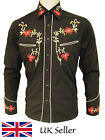 Relco Black Cowboy Western Rodeo Line Dancing Shirt Embroidered Floral M To 3XL