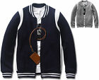 Mens Slim Fit Coloration Baseball Jumper Jacket Blazer Outwear Top W012 - S/M
