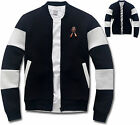 Mens Slim Fit Block Baseball Jumper Blouson Jacket Blazer Outwear Top W014 - S/M