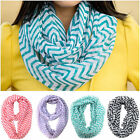 Lovely Multicolor Block Double Loop Sheer Soft Chevron Cute Scarf Wrap Women